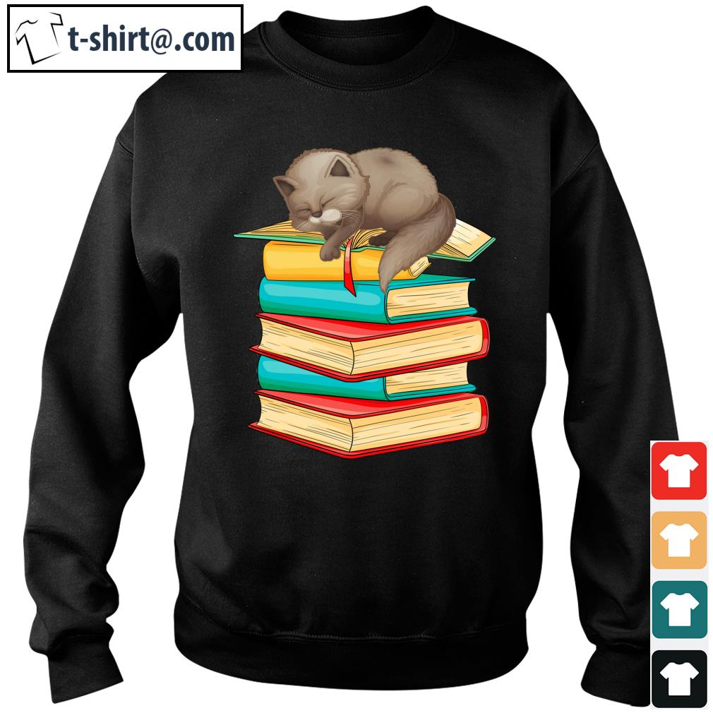 Cute Cat sleeping on books s sweater