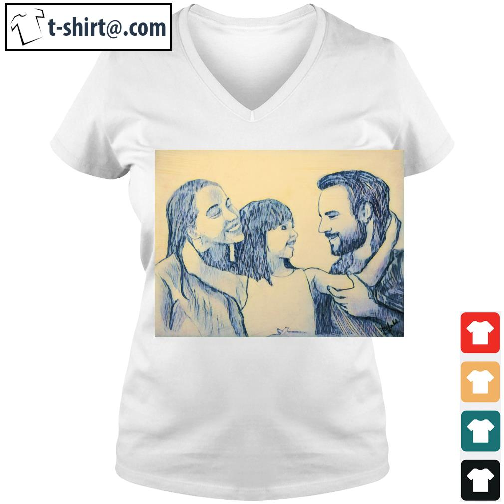 Family Daddy Mommy and Daughter s v-neck-t-shirt